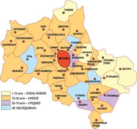 Карта загрязнения и заражения грунта Москвы и Подмосковья цинком