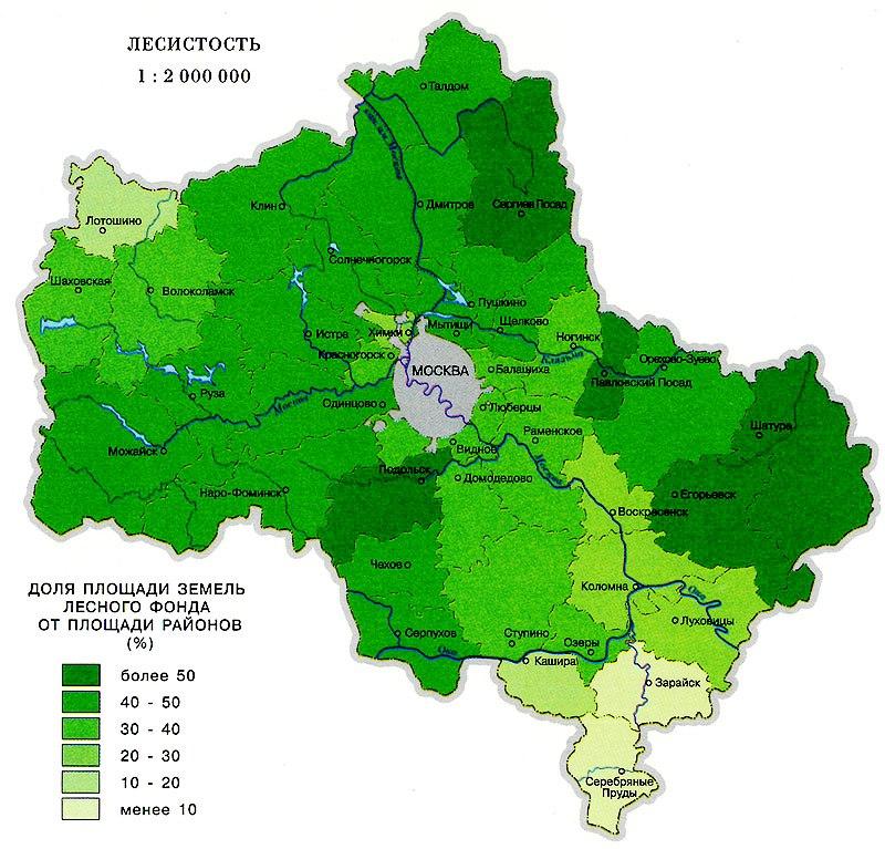 Карта растительности Москвы и Подмосковья